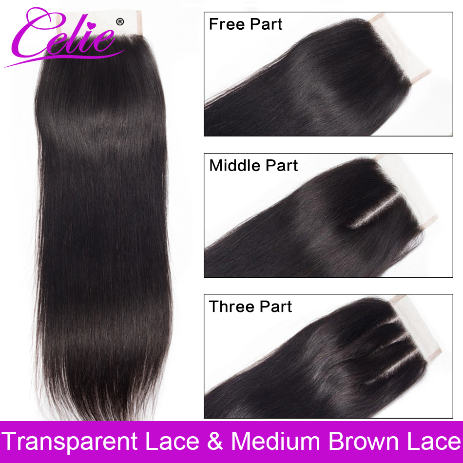 Celie Brazilian Straight Hair HD Transparent Lace Closure Free/Middle/Three Part Remy Human Hair 4x4 inch Swiss Lace Top Closure(China)