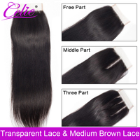 Celie Brazilian Straight Hair HD Transparent Lace Closure Free/Middle/Three Part Remy Human Hair 4x4 inch Swiss Lace Top Closure