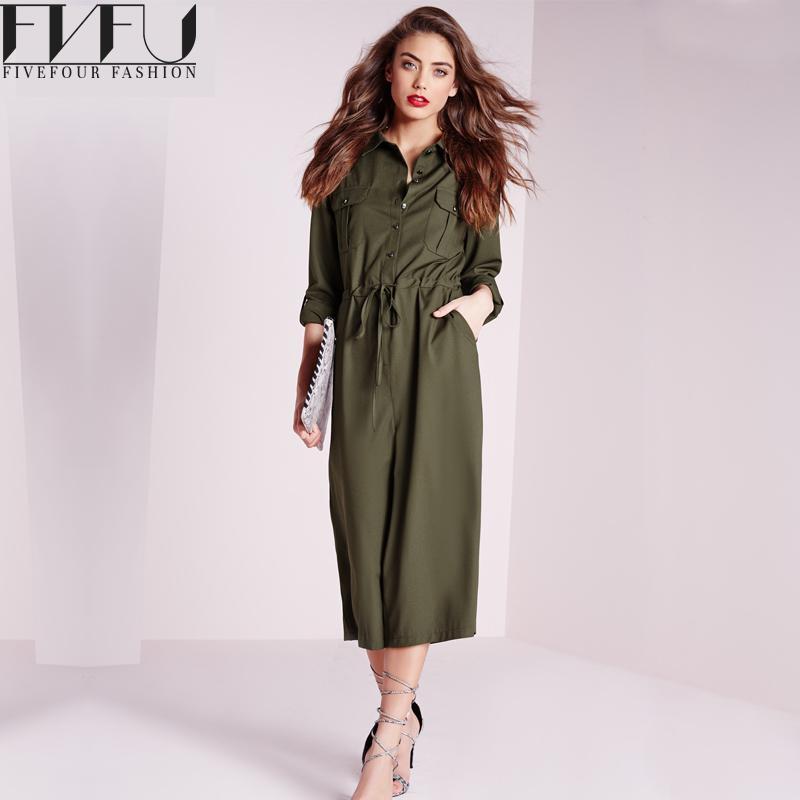 Fashion 2017 Rompers Womens Jumpsuit Autumn Elegant Wide Leg Pants Jumpsuit High Waist Casual Solid Color Jumpsuit Plus Size