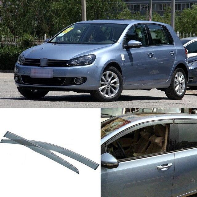 Nuevo 4 unids Hoja Ventanas Laterales Deflectores Puerta Visera de Sun Shield Para VW Golf 6 2010-2012