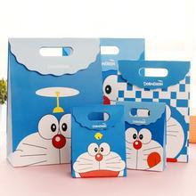 цена на 20pcs/lot Cartoon Gift Packaging Paper Bags Cute Robot Cat Pattern Small Handbag Christmas Halloween Birthday Gift Bag