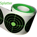 """Target Stickers (Qty 250pcs 3"""") Splatter Target Sticker - Instantly See Your Shots Burst Bright Florescent Green Upon Impact"""
