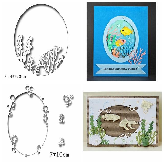 Okyanus Oval Bitki Kabarcık Metal Kesme Ölür Şablonlar için DIY Scrapbooking Kağıt Kartları Yapımı El Sanatları Eğlenceli Dekor Yeni