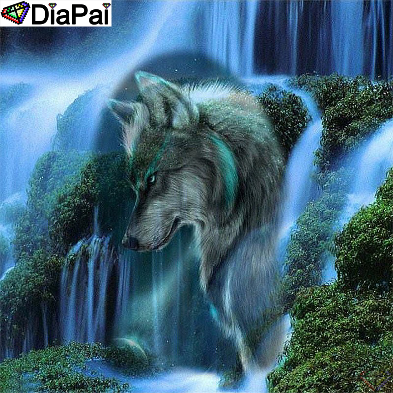 DiaPai Diamond Painting 5D DIY 100 Full Square Round Drill quot Wolf waterfall quot Diamond Embroidery Cross Stitch 3D Decor A24466 in Diamond Painting Cross Stitch from Home amp Garden