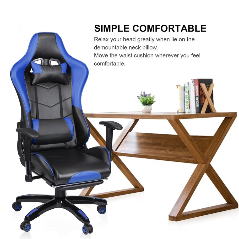Blue Racing Gaming Office Chair Computer Desk 360 Degree Chair Adjustable Seat Armrests Height Backrest Recline Retractable Leg