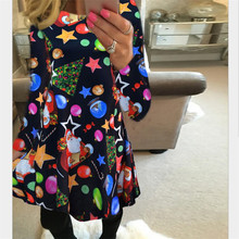 4XL 5XL Big Size Casual Print Cartoon Christmas Tree Cute Loose Dress Autumn Winter A Line