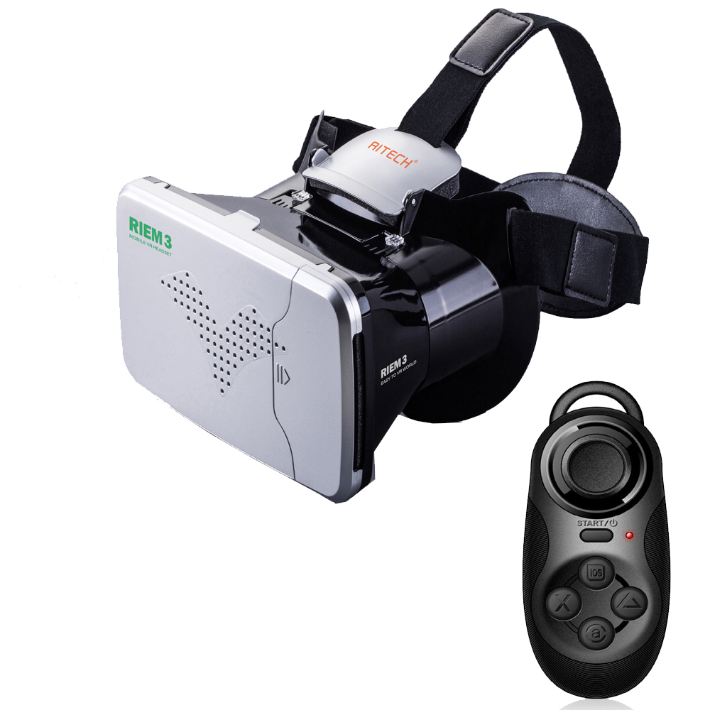 F17698-A/9 RITECH RIEM3 VR 3D Virtual Reality Glasses Headset Private Theater + Bluetooth Remote Control for 3.5-6″ Smartphone