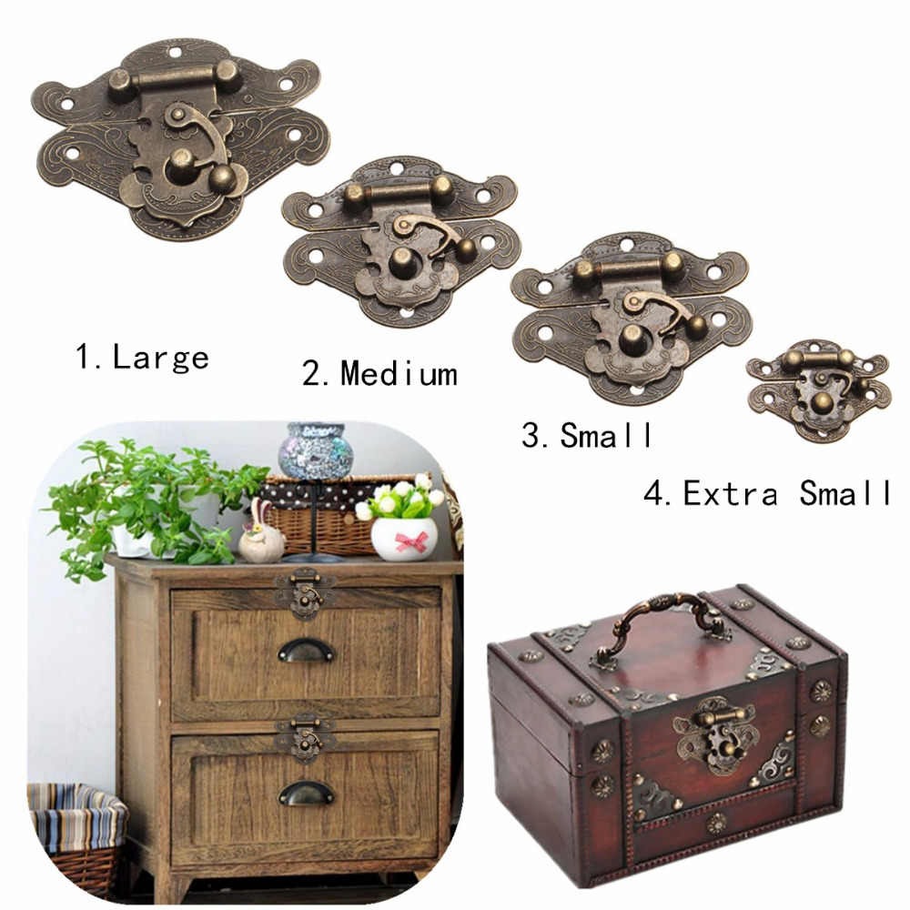 4Sizes Antique Bronze Furniture Handles Retro Zinc Alloy Cabinet Pulls Wooden Jewelry Box Hasp Pad Chest Lock Door Handle Knobs