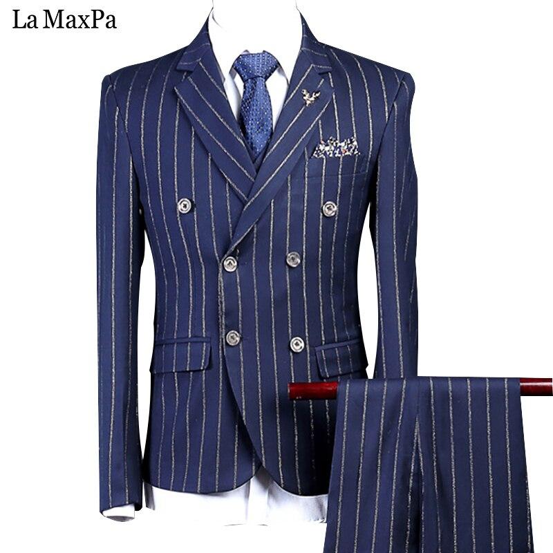 LA Maxpa (dzseki + nadrág + mellény) Márka férfi öltöny esküvői öltöny férfi tavaszi őszi kék csík alkalmi vékony fit prom party ruha ruha