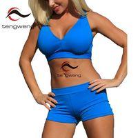 Tengweng 2017 Sexy Women Deep V Halter Swimwear Padded Swimsuit Cross Bandage High Waist Bathsuit Brazilian