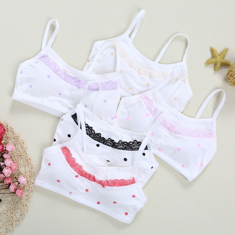 4Pcs Girls Teenage Kids Soft Breathable Cotton Underwear Training Bra Tops Cloth