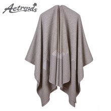 [AETRENDS] 2017 New Ponchos and Capes Winter Cashmere Feel Scarves Thicken Shawl Scarf Women Poncho Z-6164