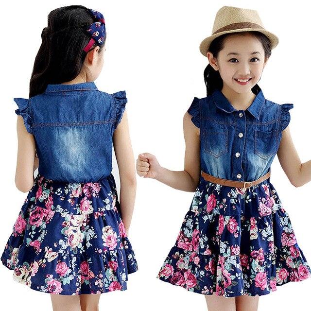 5fca10df2 Caliente adolescente niñas denim vestido floral nuevos vestidos de verano  para las chicas 10 años bebé