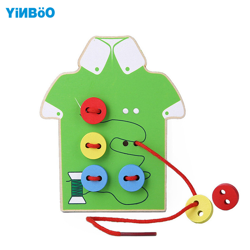 Montessori Education Wood 2 styles Wear The Button Wooden Toys Threading Board Beaded building Blocks kids DIY handmade toy