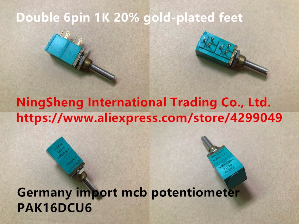 Original new 100% Germany import mcb potentiometer PAK16DCU6 double 6pin 1K 20% gold-plated feet (SWITCH) spanish two tone double potentiometer 10k 50k
