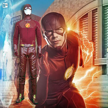 New arrival 2015 movie The Flash Costume Suit Adult Men's Halloween Superhero Cosplay Costume Plus size whole set