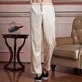 Bege Nova Chegada Calças de Tai Chi Kung Fu Dos Homens Chineses de Cetim Calças Cintura Elástica Calças Tamanho M A XXXL