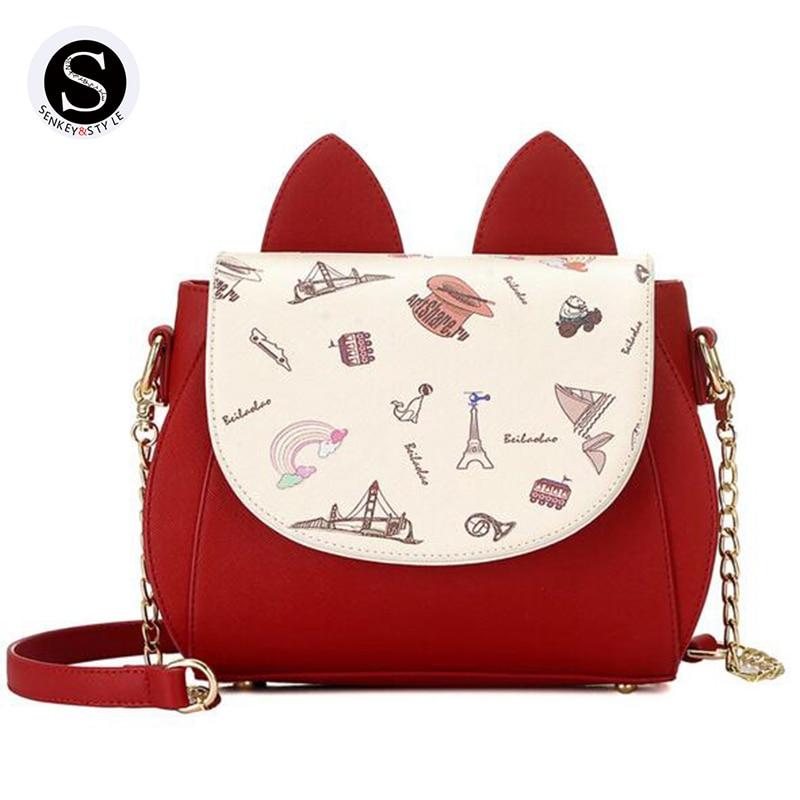 Senkey Style Crossbody Bags For Women Messenger Bags Designer High Quality Women Shoulder Bag 2017 Leather Hello Kitty Chain