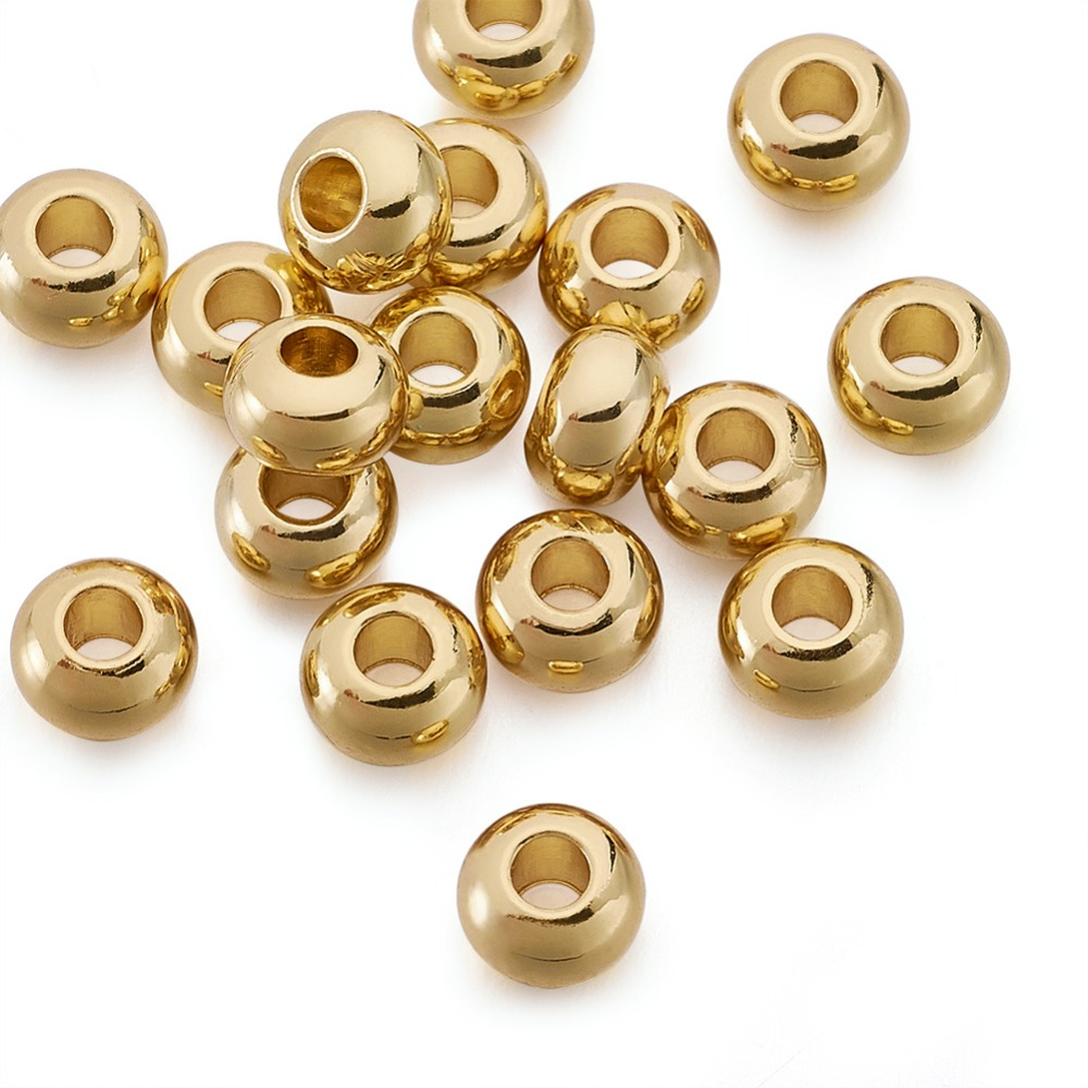 Environmental-Brass-Flat-Round-Bead-Spacers-Lead-Free-Cadmium-Free-Nickel-Free-Golden-6x4mm-Hole-2mm