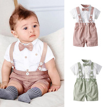 цена на 2019 Summer Baby Boy Clothing Sets Toddler Boy Gentleman Tie  Blouse And Overalls Shorts Outfits Kids Shirt Pants Clothes Sets