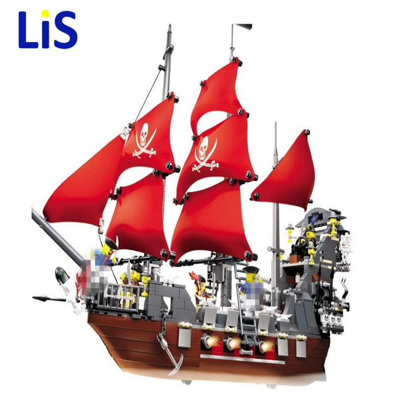 Model building kits compatible Pirates ship king 3D blocks Educational model building toys hobbies for children ...