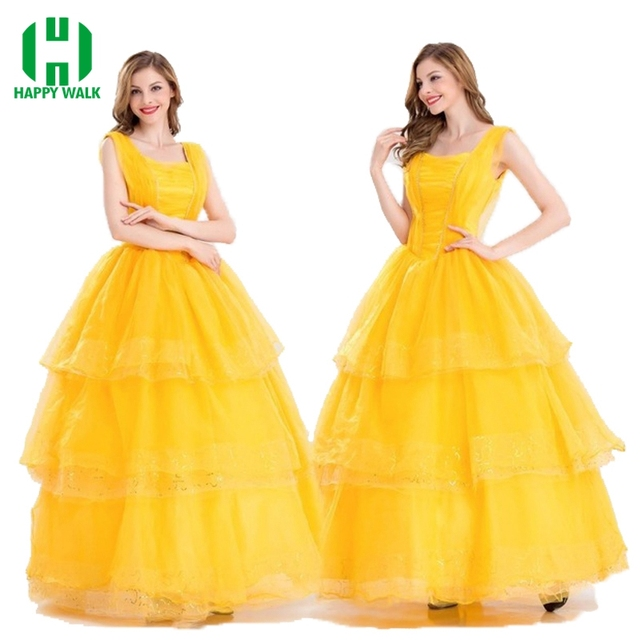 67b5271e0bee S-XXL Princess Belle Halloween Cosplay Costume Beauty And The Beast Costume  Adult Girl Dress Party Carnival Fancy Costume