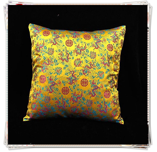 Double Ethnic Dragon Cushion Covers For Sofa Seats Chair Car Decorative Chinese Style Silk Brocade Zippered