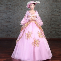 Pink Square Neck Long Flare Sleeve Marie Antoinette Period Dress Gold Embroidery Masquerade Gowns For Women With Hat