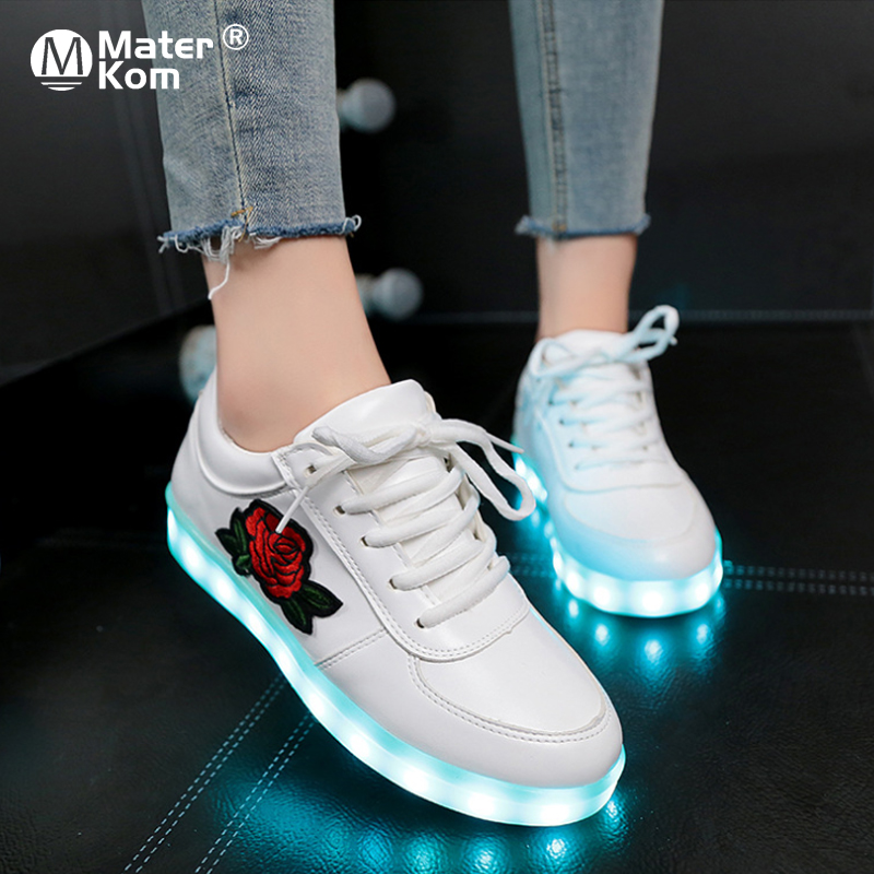 Size 30-41 Luminous Sneakers For Girls Boys Shoes With Light Led Shoes With Flower Glowing Sneakers Kid Krasovki With Backlight