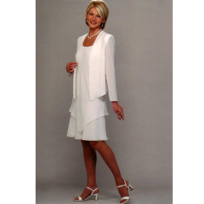 cac05a2574f New Arrival Mother of the Bride Dresses With Jacket Knee Length Mom of the Groom  Gown Simple Ivory Chiffon Wedding Guest Wear