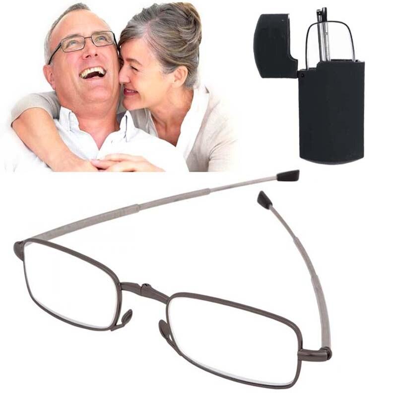 2018 actualizado nueva Unisex de los hombres y de las mujeres Delgado Mini plegable gafas de lectura portátiles casos + 1,0 + 1,5 + 2,0 + 3,0 + 3,5 + 4,0