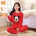 Tallas grandes Otoño Invierno Cálido Algodón de Las Mujeres de Dibujos Animados Mickey Mouse Homedress Pijamas Loungewear Set ropa de Dormir Nightgrowns HCN16057