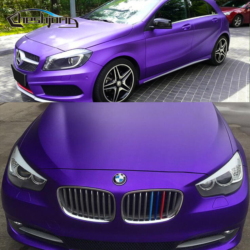 Matte Chrome Vinyl Deep Purple PVC Chrome Film Matte Vinyl Car Styling Sticker Wrap 1.52*20m/roll-in Car Stickers from Automobiles & Motorcycles    1