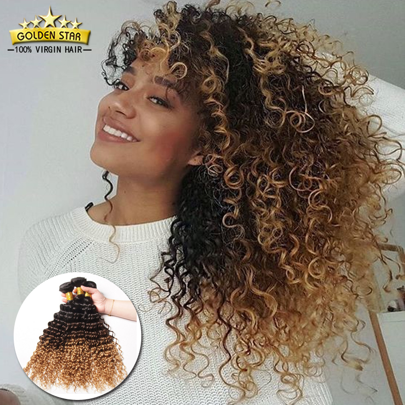 Golden star 4 bundles ombre brazilian curly human hair weave 8a golden star 4 bundles ombre brazilian curly human hair weave 8a blonde brazilian hair extensions ombre deep wave sexy hairstyle in hair weaves from hair pmusecretfo Choice Image