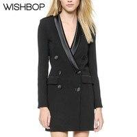 Высокое качество; роскошные женские черные классические брюки двубортный Блейзер атласное платье воротник 6 кнопки мини платье с длинными