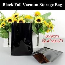"100pcs 6x9cm (2.4""x3.5"") 180micron Small Glossy Black Aluminum Foil Open Top Bag Heat Sealing Herbal/Medicine Zip Packaging Bag"