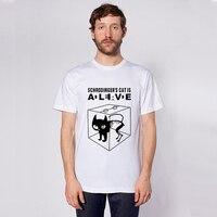 2016 Summer Cotton Anime Erwin Schrodinger's Cat Ink Print Shirt Men Clothing T-shirt Man Tee White Street Punk Mens Tshirt