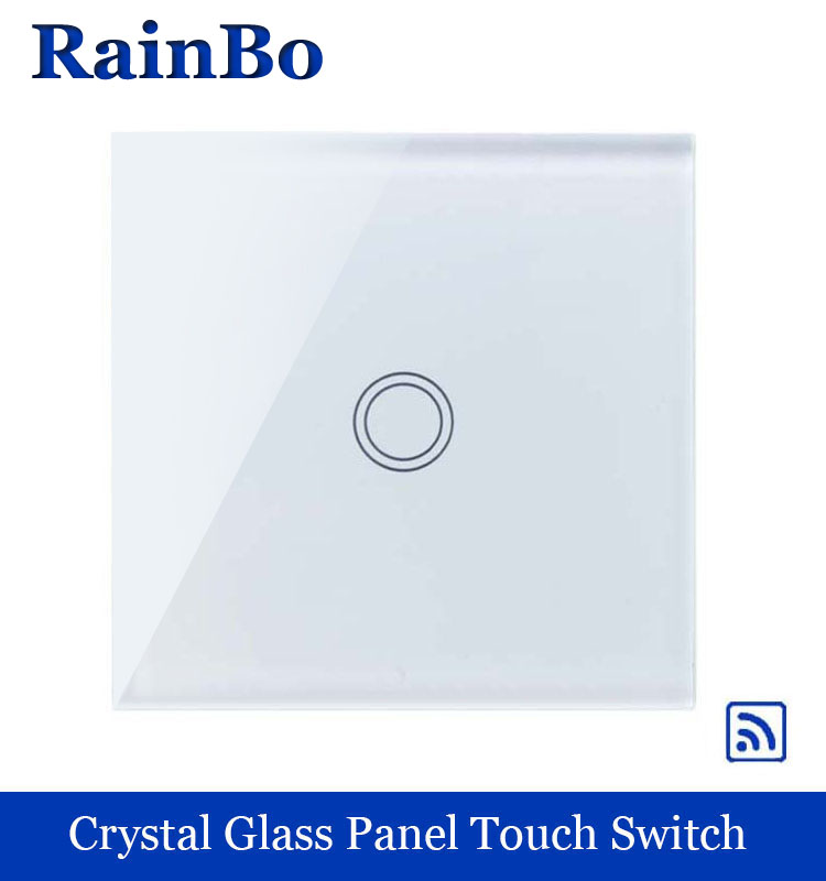 rainbo Remote Touch Smart  Switch Screen  Crystal Glass Panel  EU Wall Switch AC110~250V  Wall Light Switch LED Lamp A1913XW/B smart home uk standard crystal glass panel wireless remote control 1 gang 1 way wall touch switch screen light switch ac 220v