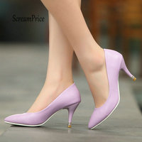 Sexy Thin High Heel Pumps Fashion Pointed Toe Spring Fall Dress Women Shoes Blue Pink Black purple