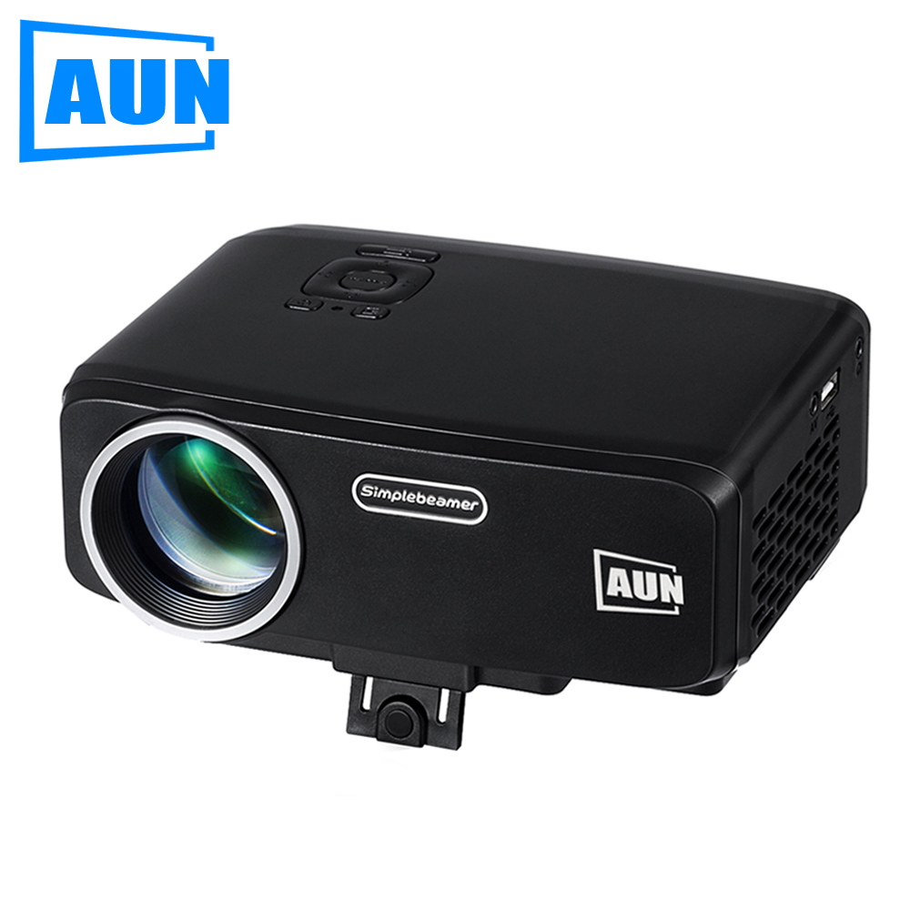 AUN Projector AM9 Entry Level 800 Lumens LED Projector with ATV HDMI VGA Port for Children Education Home Theatre MINI Beamer mini home high definition led projector w hdmi port white