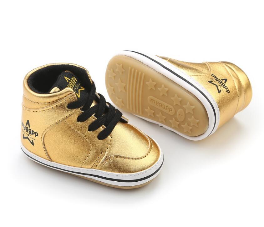 Neugeborenen Hohe Top Baby Herbst Sport Schuhe Glitter Stil Infant Kleinkind PU Leder Baby Boot Prewalkers Sneaker Für 0- 18 mt