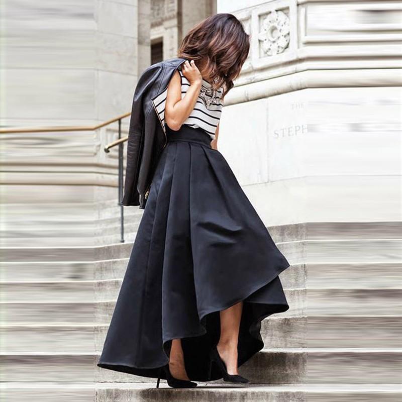 Chic High Low Women Skirt Pleat High Zipper Waist A-line Floor Length Long Maxi Satin Skirts 100% Real Pictures39