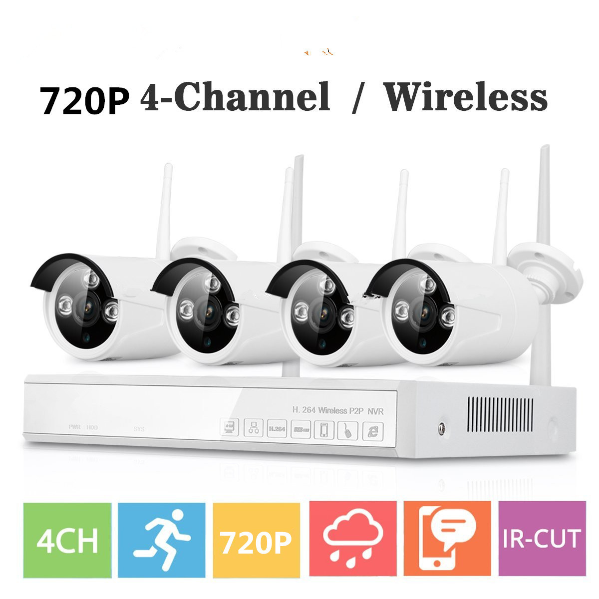 4CH Wireless NVR CCTV System wifi 1.0MP IR Outdoor Bullet P2P IP Camera Waterproof Security Video Surveillance wifi Kit 5 8g 1 0 mp 1 4 color cmos 4ch 720p wifi 1 nvr with 4 pcs waterproof ir bullet wireless ip camera wireless cctv system kit