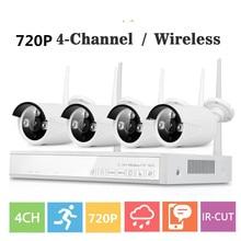 4CH Sans Fil NVR CCTV Système wifi 1.0MP IR Bullet Extérieure P2P IP Caméra Étanche de Sécurité Vidéo Surveillance wifi Kit