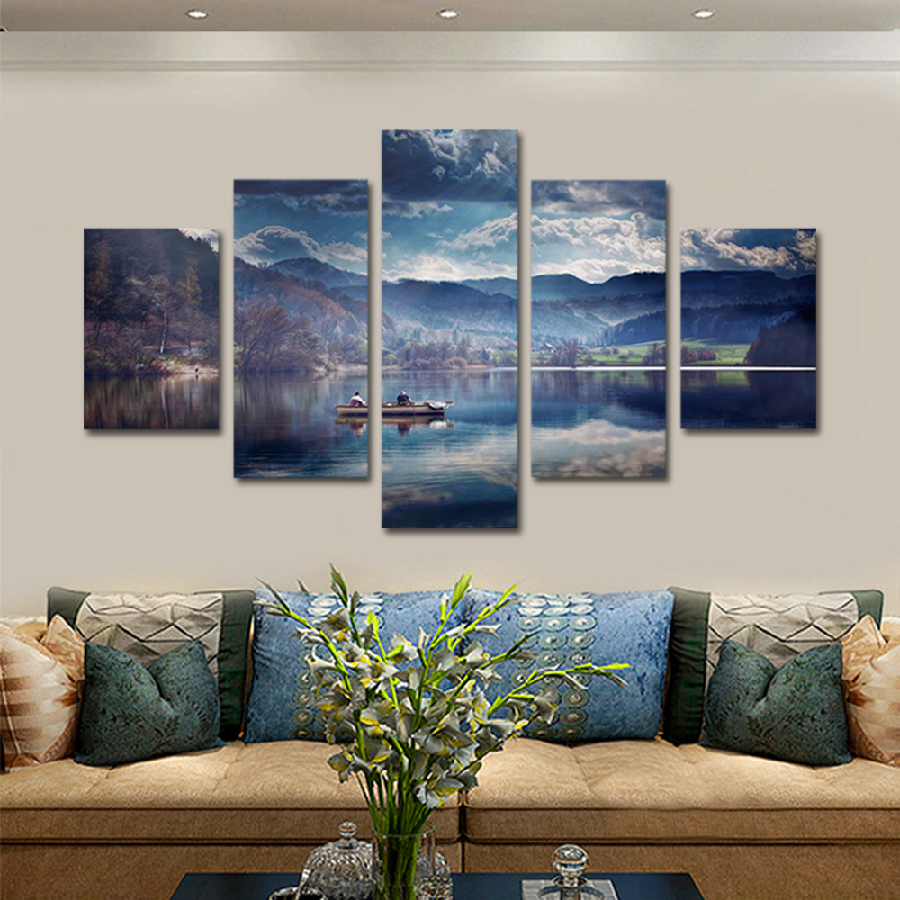 Unframed Canvas Painting Lake Ferry Snow Mountain Landscape Photo Prints Wall Pictures For Living Room Wall Art Decoration