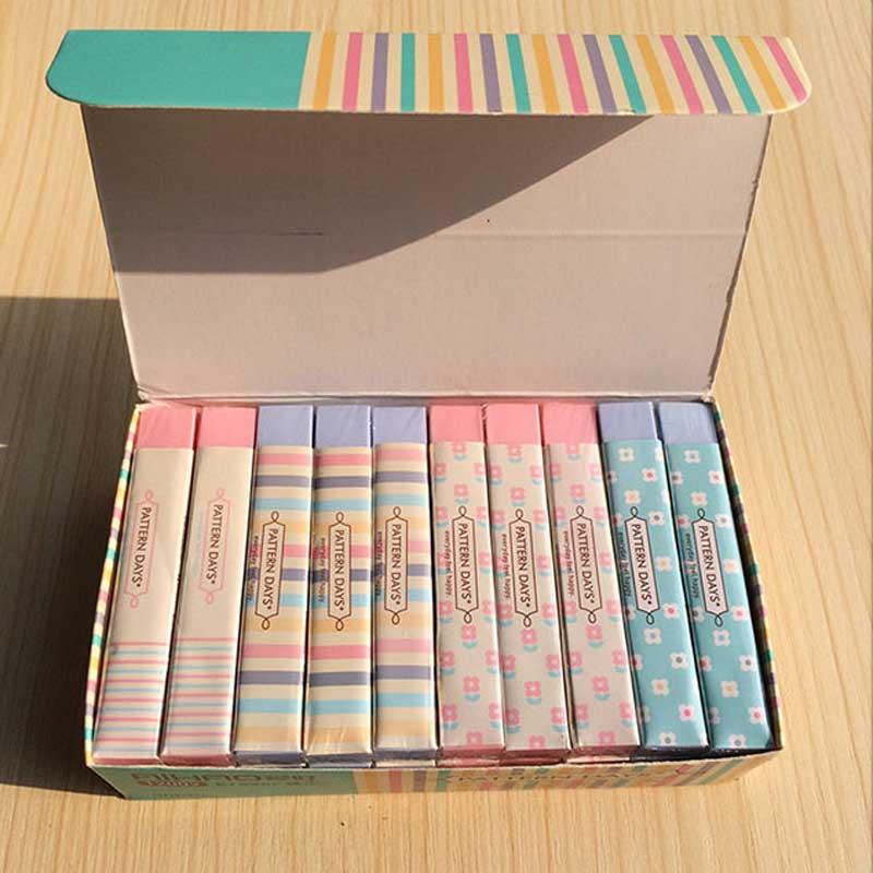 Cute Kawaii Stripe Flower Rubber Erasers Kawaii School Office Correction Pencil Erasers For Kids Korean Students Stationery