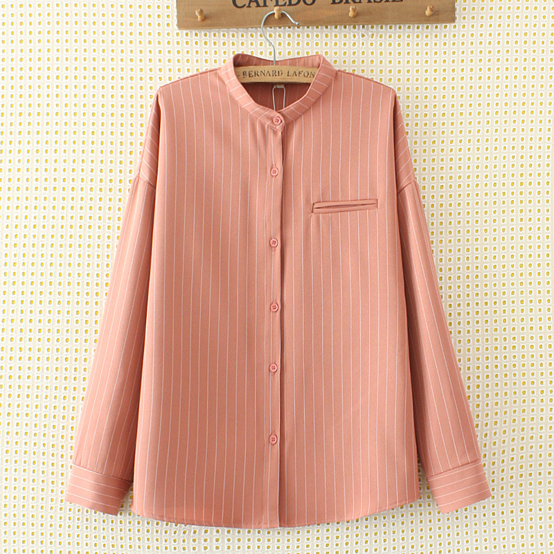 Plus SizeWomens Blouse Tops Spring Casual Long Sleeve Loose O-Neck Striped Button Relaxed-fitting Ladies Shirt Blause