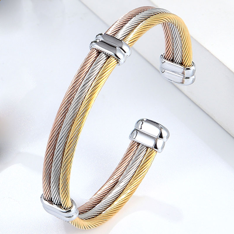 4 Styles Cable Bracelet Adjustable Size Cuff Bangle For Women New Arrival Spring Wire Line Titanium Steel Jewelry Wholesale