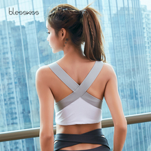 BLESSKISS High Impact Sports Bra Top Fitness Women Back Cross Anti Sagging Running Gym Tank Top Cropped Active Wear Sport BH active scoop neck cross back yoga tank top for women
