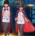 2016 hot Free shipping,halloween party dress up costume,children Vampire Girl Queen Prinecess Trench coat